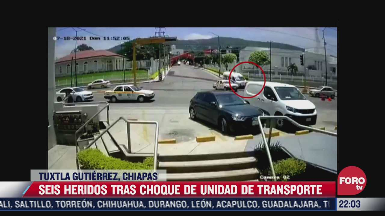 seis heridos tras choque de unidad de transporte en chiapas