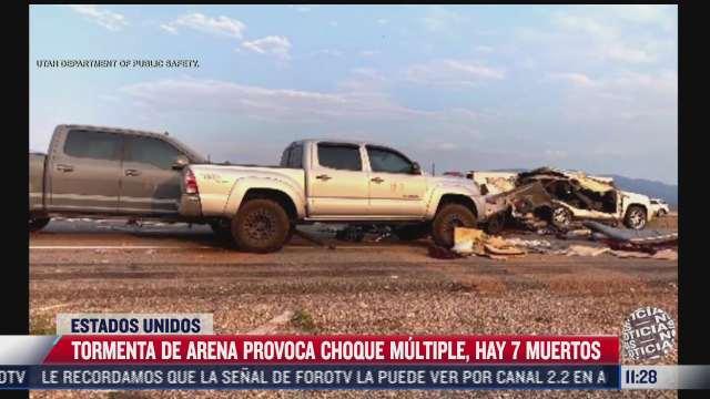 tormenta de arena provoca choque multiple mueren siete personas