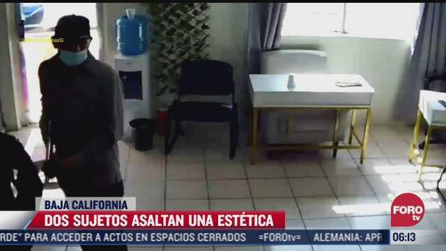 video dos sujetos asaltan una estetica en mexicali baja california