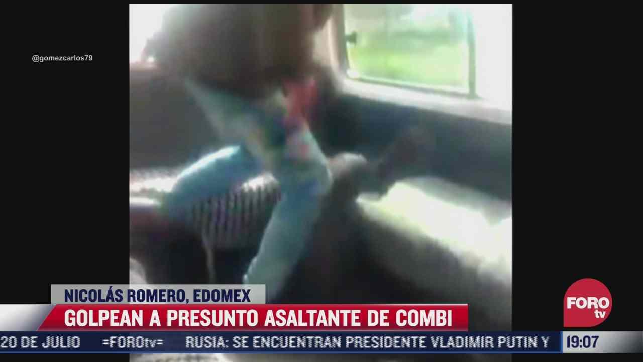 video pasajeros de combi golpean a presunto asaltante en nicolas romero
