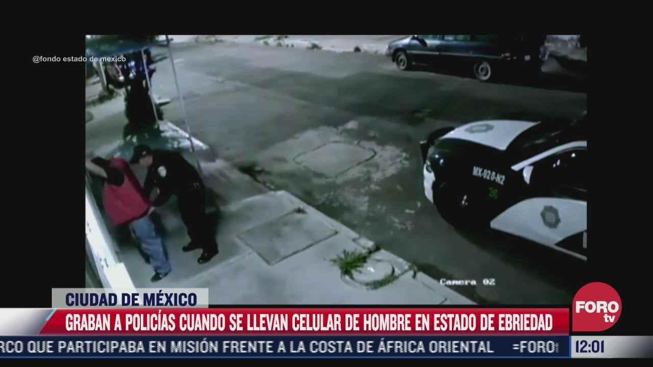 video policias roban celular a hombre en estado de ebriedad en la cdmx