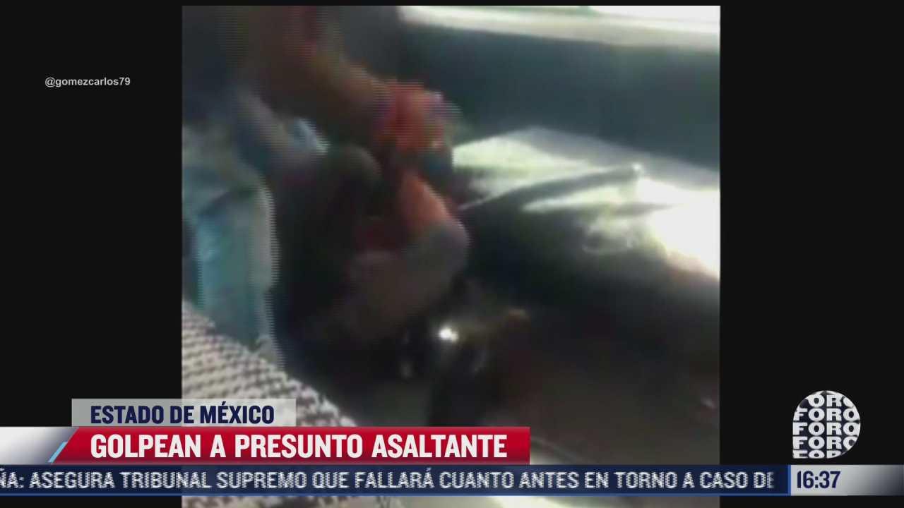 video usuarios golpean a presunto asaltante del transporte publico en el estado de mexico