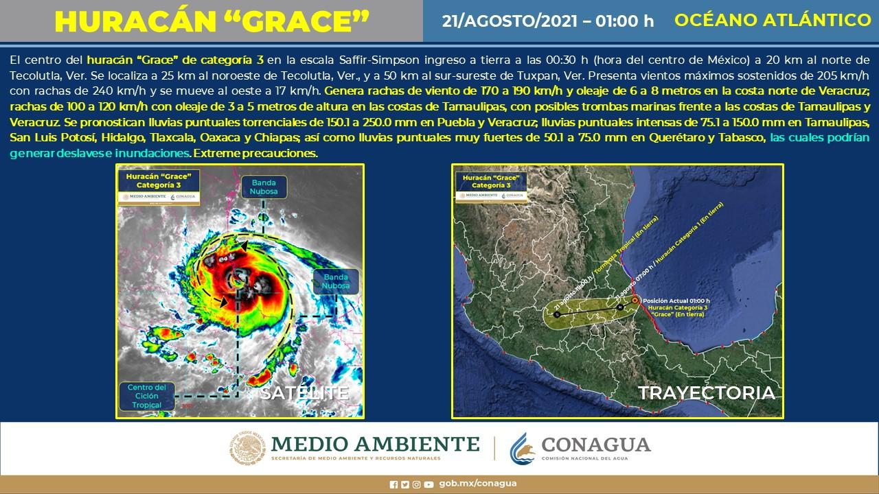 Grace tocó tierra aproximadamente a las 00-30 horas