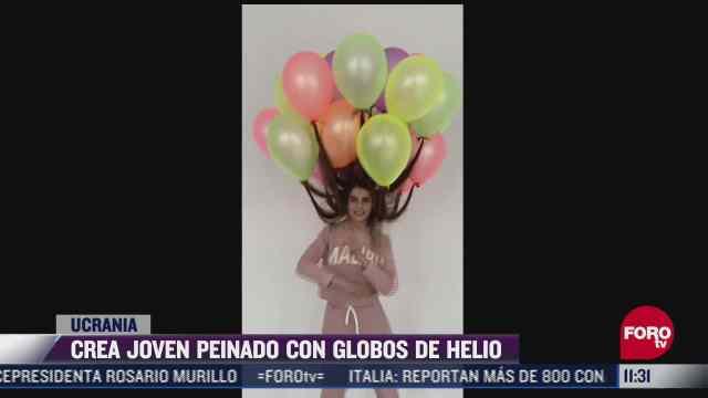 joven se hace viral por crear peinado con globos de helio