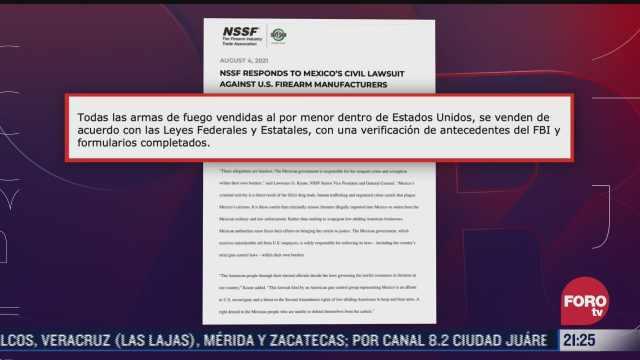 nssf en eeuu responde a mexico sobre trafico de armas