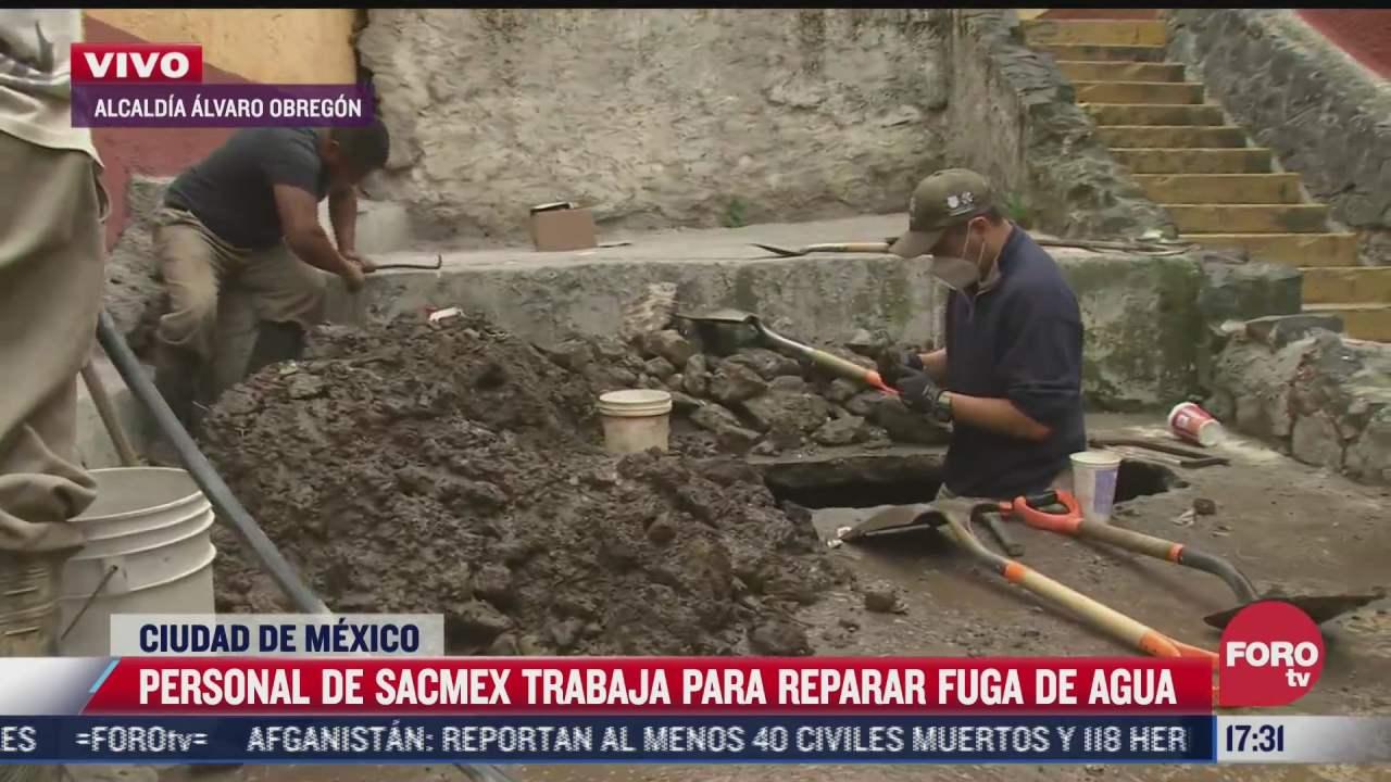 personal de sacmex trabaja en reparacion de fuga de agua en alcaldia alvaro obregon