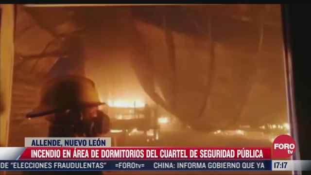 se incendia sede de seguridad publica en allende nuevo leon