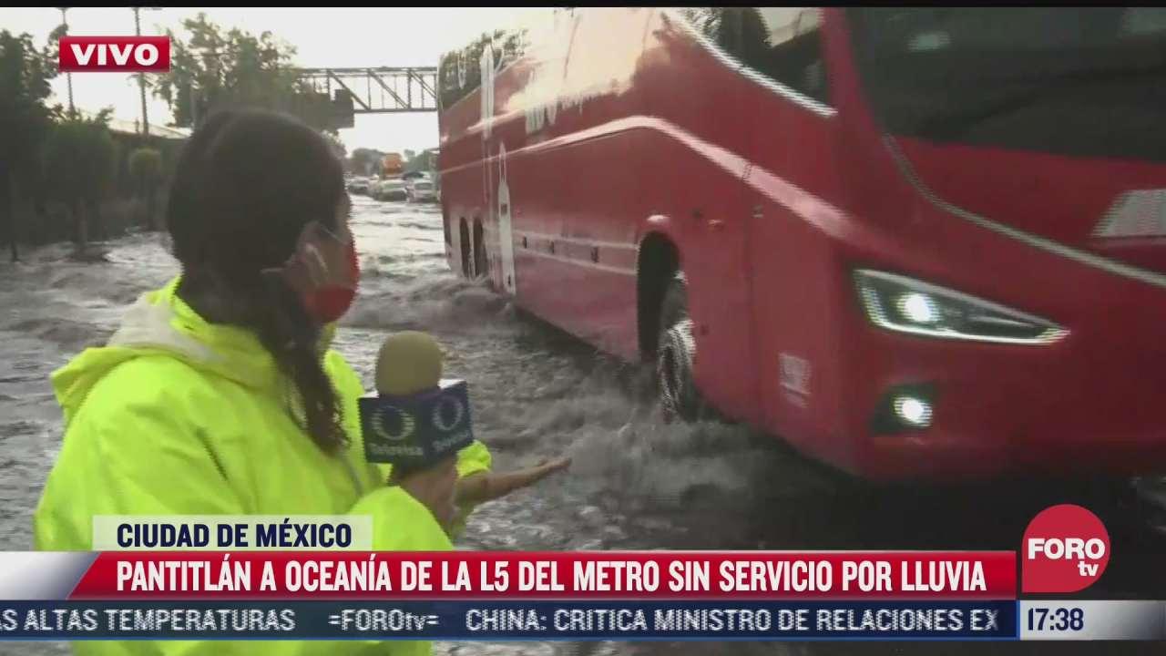sin servicio en linea 5 del metro de pantitlan a oceania por lluvias