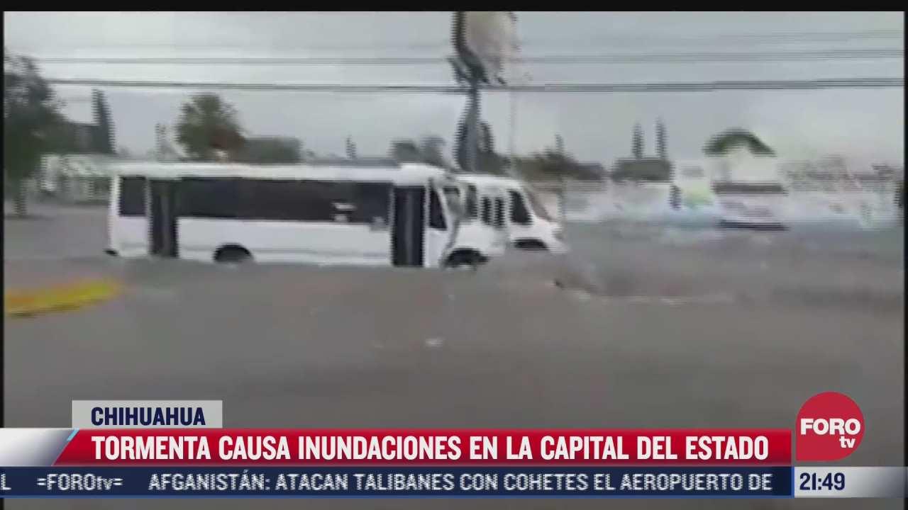 tormenta causa inundaciones en la capital de chihuahua