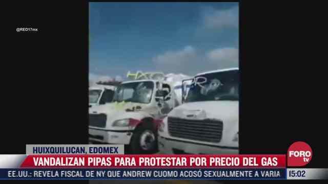 video vandalizan pipas de gas para protestar por precios de combustible