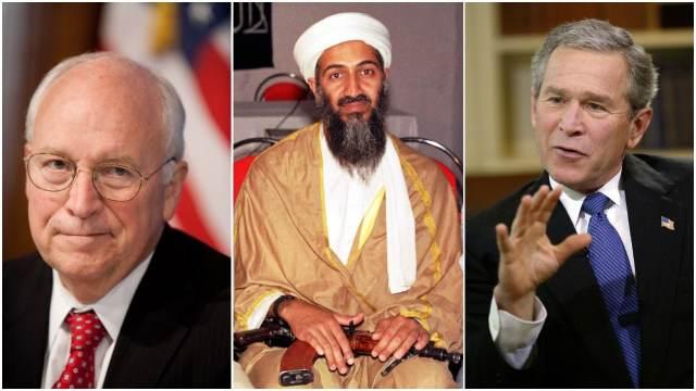 Dick Cheney, Osama bin Laden, George W Bush, 11 de septiembre, atentados terroristas, collage