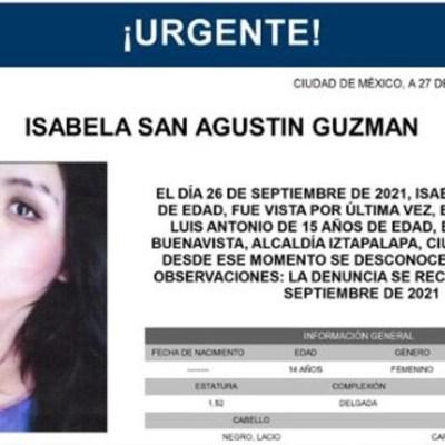 Activan Alerta Amber para localizar a Isabela San Agustín Guzmán