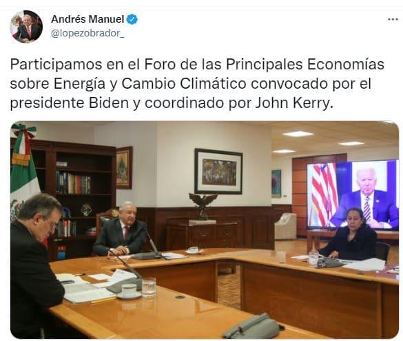Mediante su cuenta de Twitter reiteró que éste fue convocado por el presidente Joe Biden. Fuente: Twitter @lopezobrador_