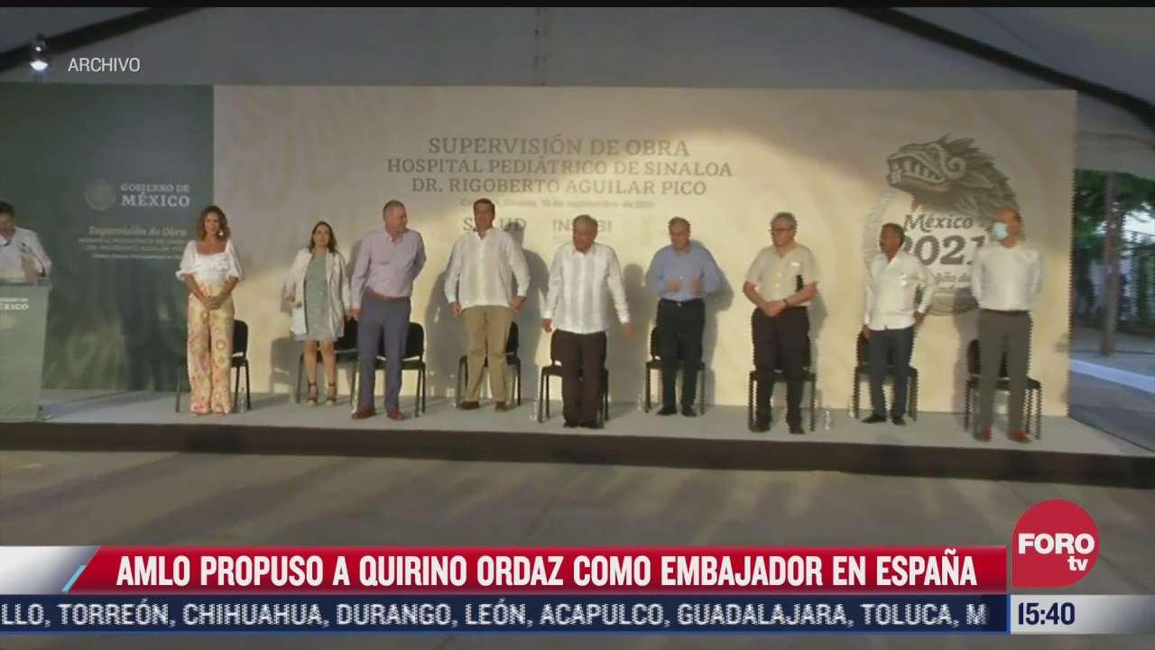 amlo propuso a quirino ordaz como embajador en espana