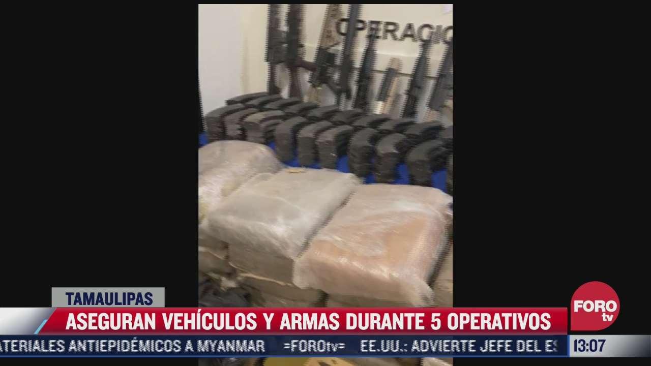 aseguran vehiculos y armas durante 5 operativos en tamaulipas