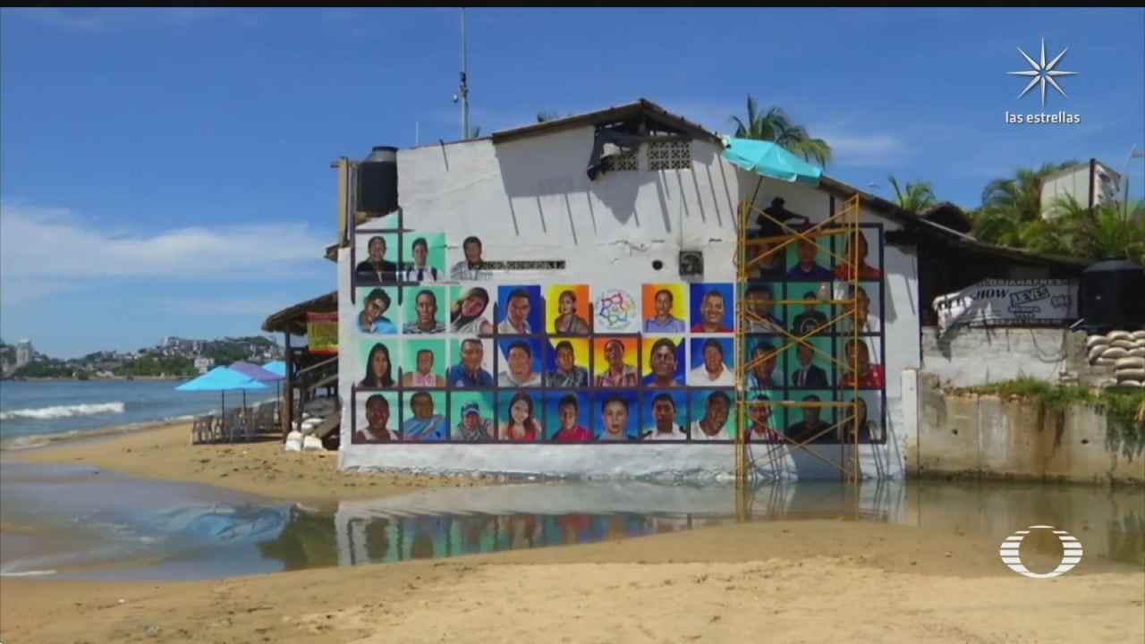 Pintan rostros de personas desaparecidas en murales Acapulco