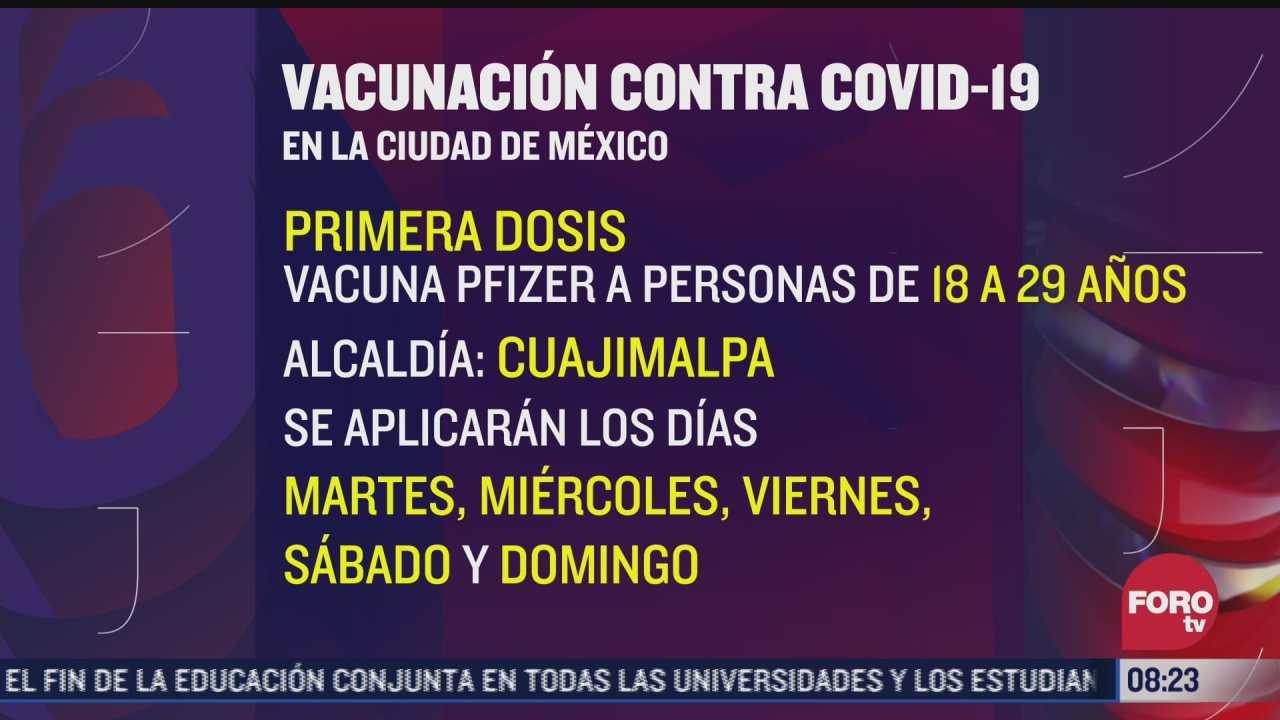 cdmx aplicara segunda dosis de vacuna a personas de 30 a 39 anos en 7 alcaldias