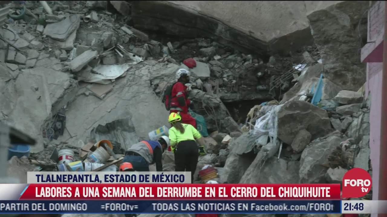 continuan labores de rescate a una semana del derrumbe en el cerro del chiquihuite