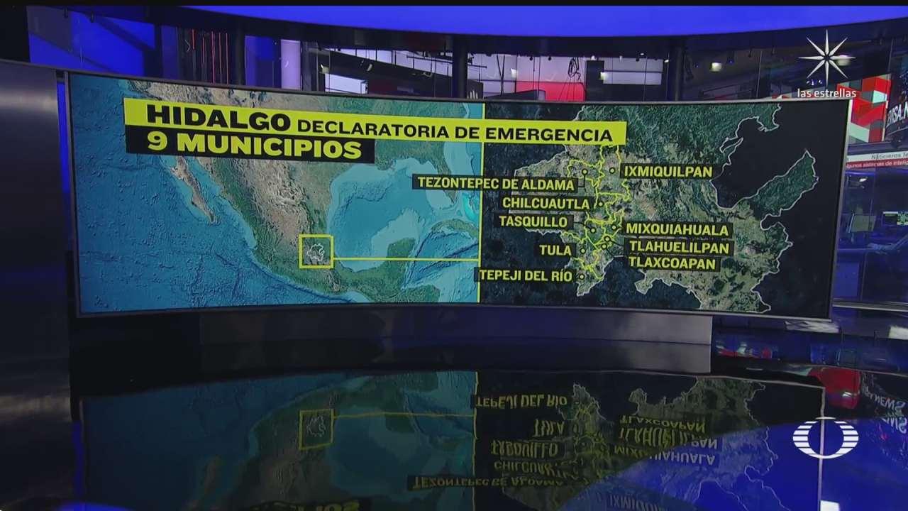 declaran emergencia en 9 municipios de hidalgo recibiran presupuesto federal