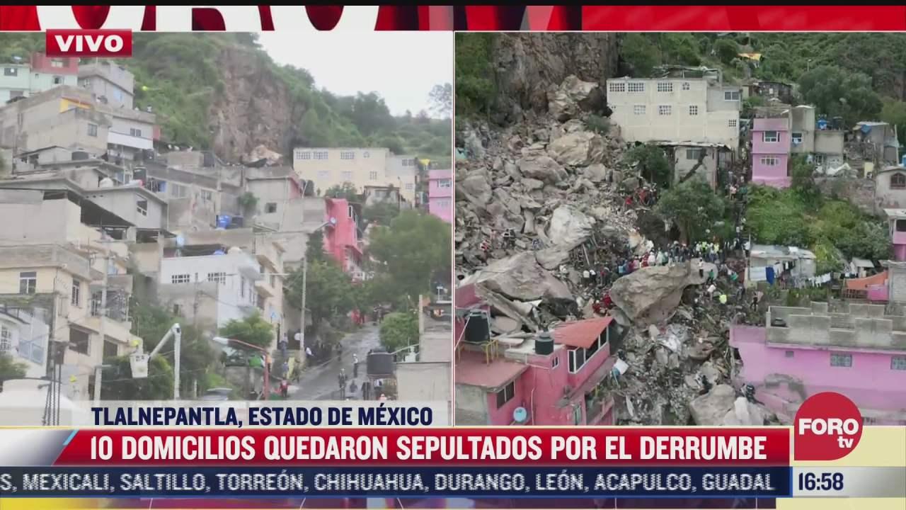 diez casas quedaron sepultadas tras derrumbe en tlalnepantla