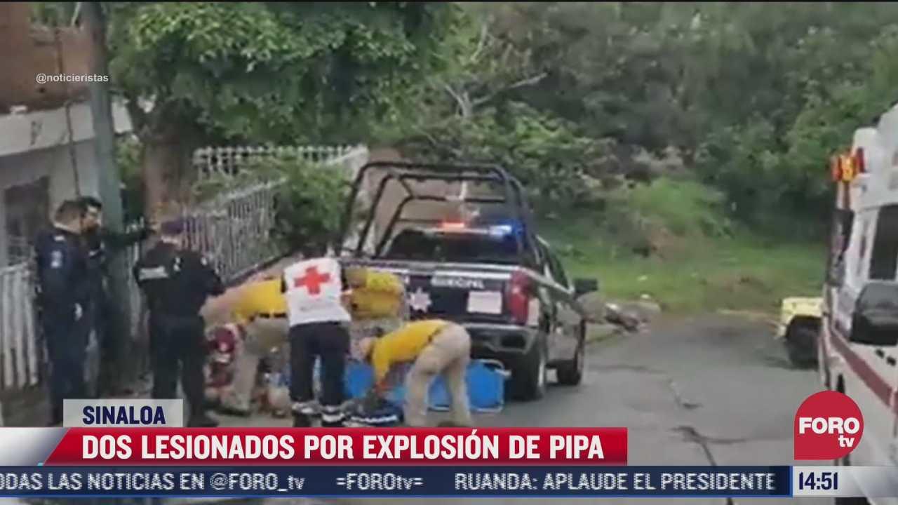 dos personas resultan heridas por explosion de pipa de gas lp en sinaloa