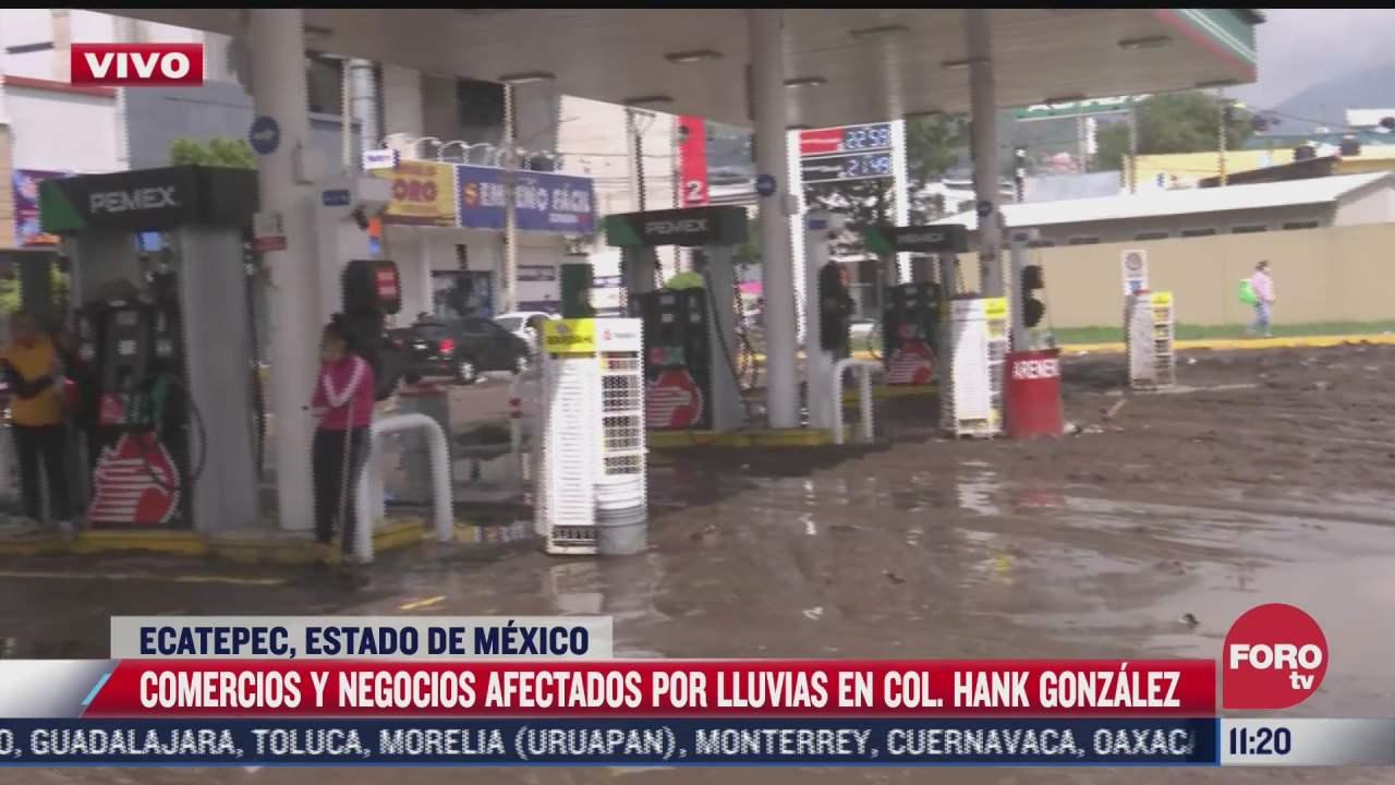 gasolineras y negocios afectados por lluvia en colonia hank gonzalez en ecatepec