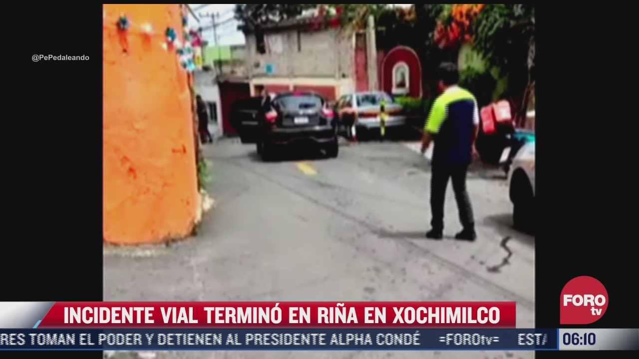 incidente vial termina en pelea a golpes en xochimilco