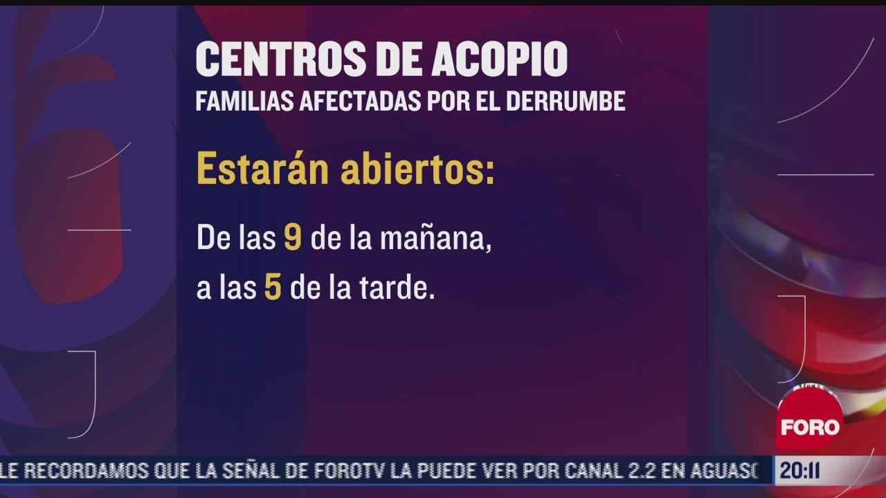 los centros de acopio para afectados del chiquihuite