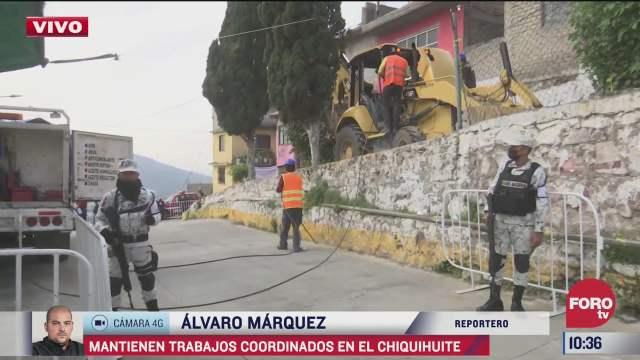 mantienen trabajos de busqueda y rescate de dos personas en cerro de chiquihuite