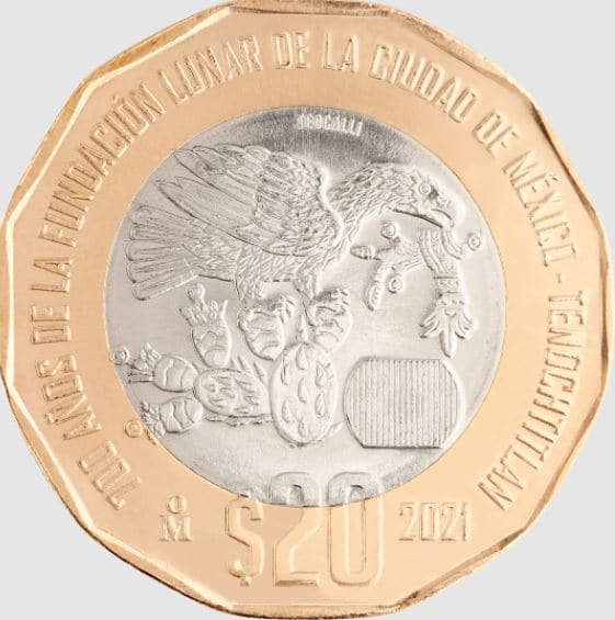 Moneda 700 años de la fundación lunar de la ciudad de México-Tenochtitlan