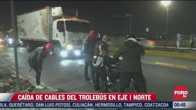 motociclistas se enredan en cables caidos del trolebus cdmx en eje 1 norte