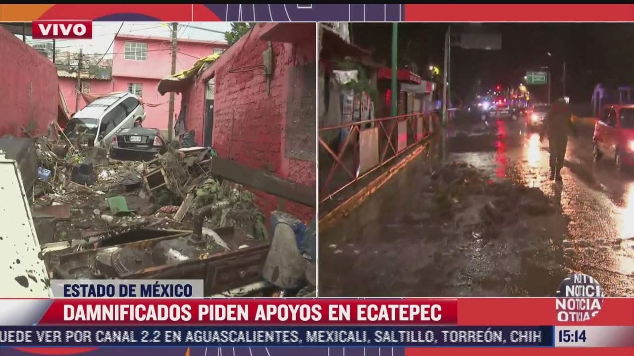 niveles del agua no bajan tras las fuertes lluvias registradas en ecatepec el lunes