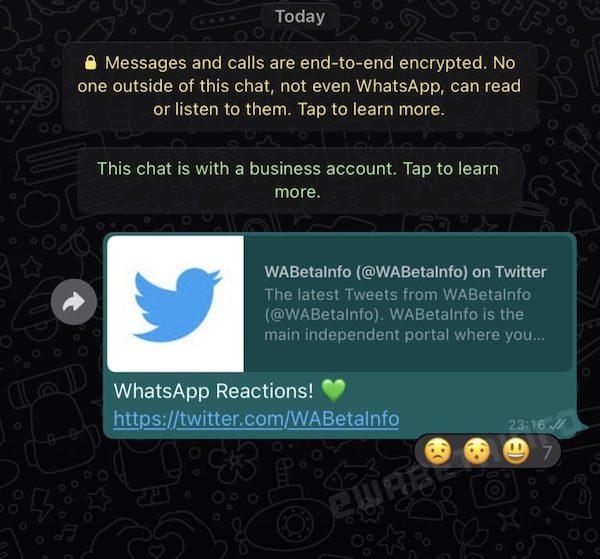 WhatsApp reacciones emojis chats