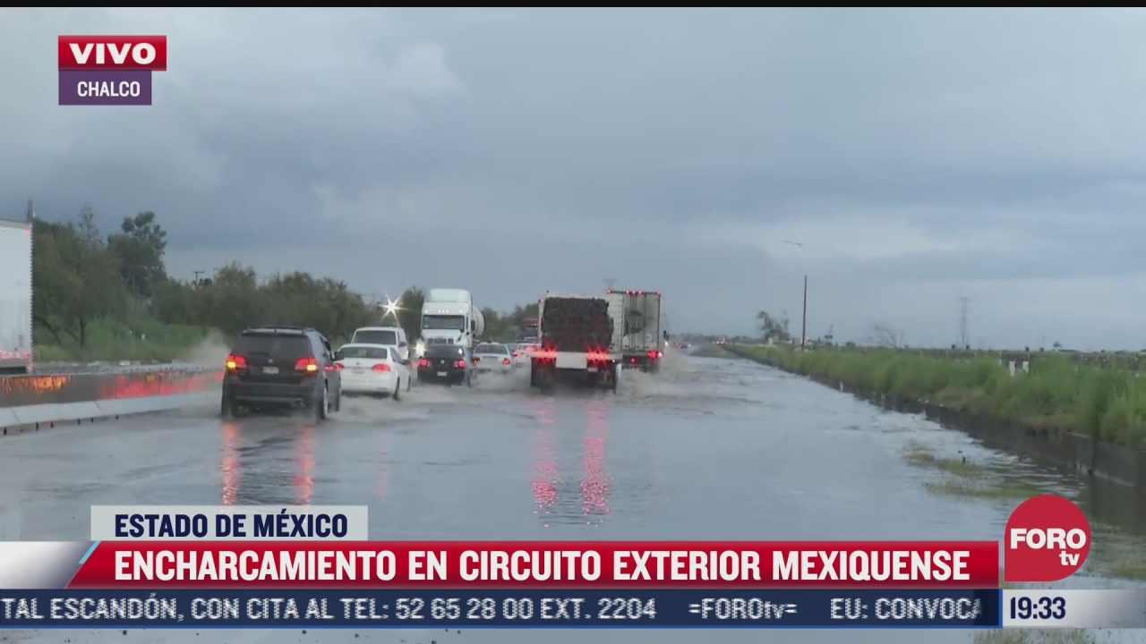 reportan encharcamientos en el circuito exterior mexiquense