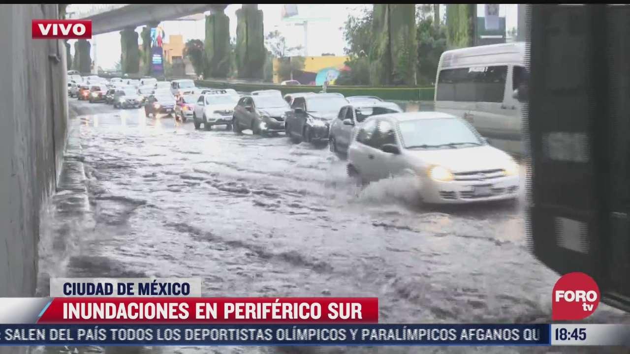 se registran inundaciones en periferico sur cdmx