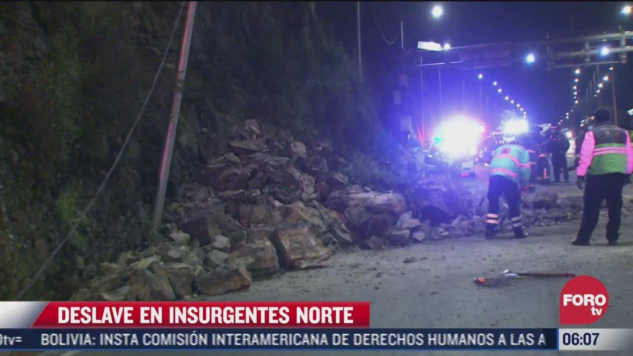 servicios de emergencia laboran por deslizamiento de tierra sobre avenida insurgentes cdmx
