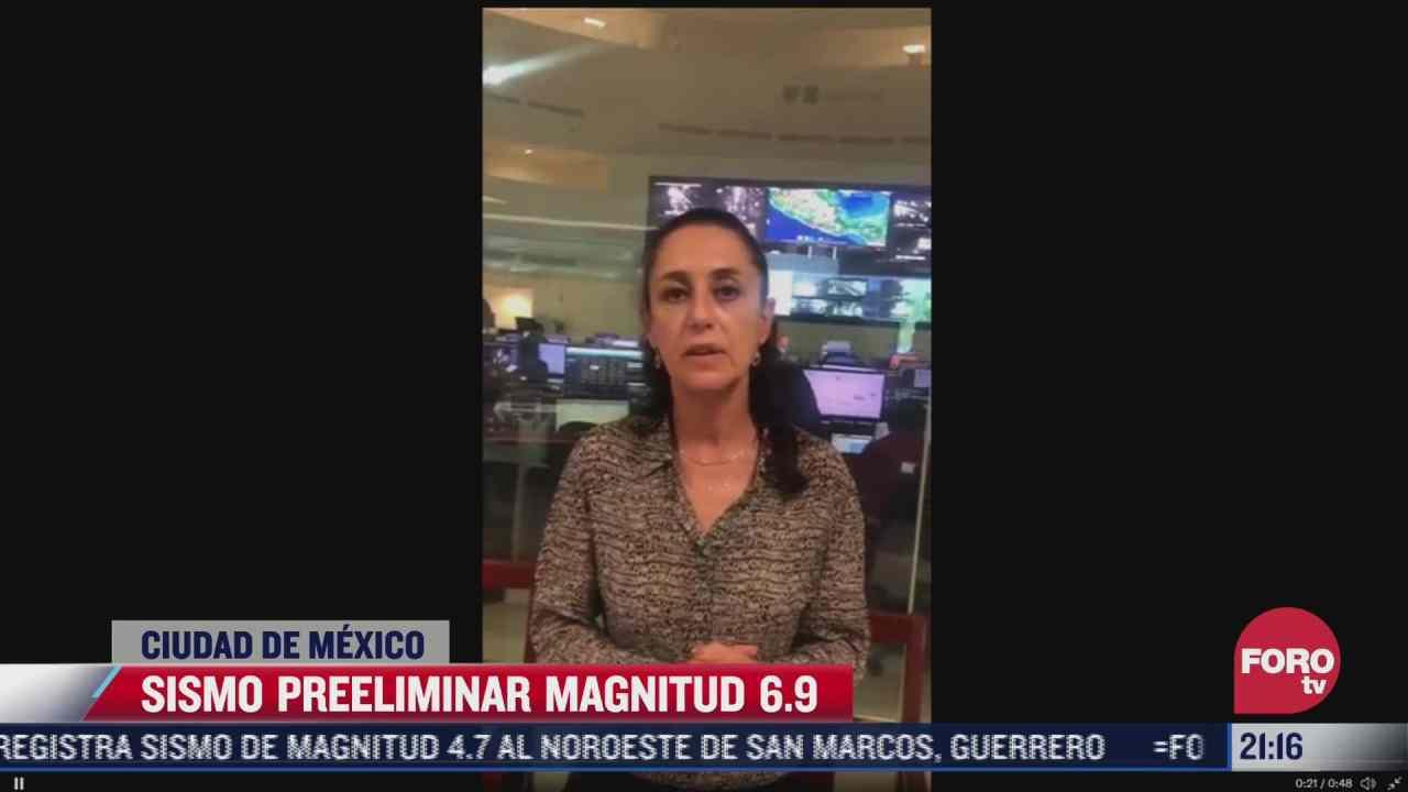 sheinbaum supervisa afectaciones en cdmx tras sismo preliminar magnitud
