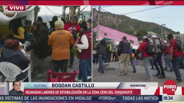 siguen trabajos para estabilizar zona de deslave en chiquihuite