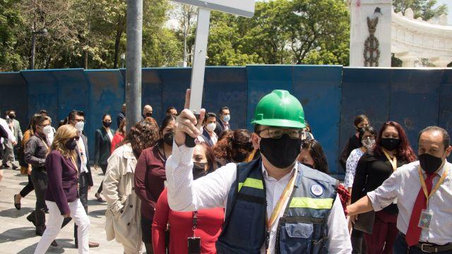 La Secretaría de Relaciones Exteriores (SRE), realizaron el simulacro de Sismo
