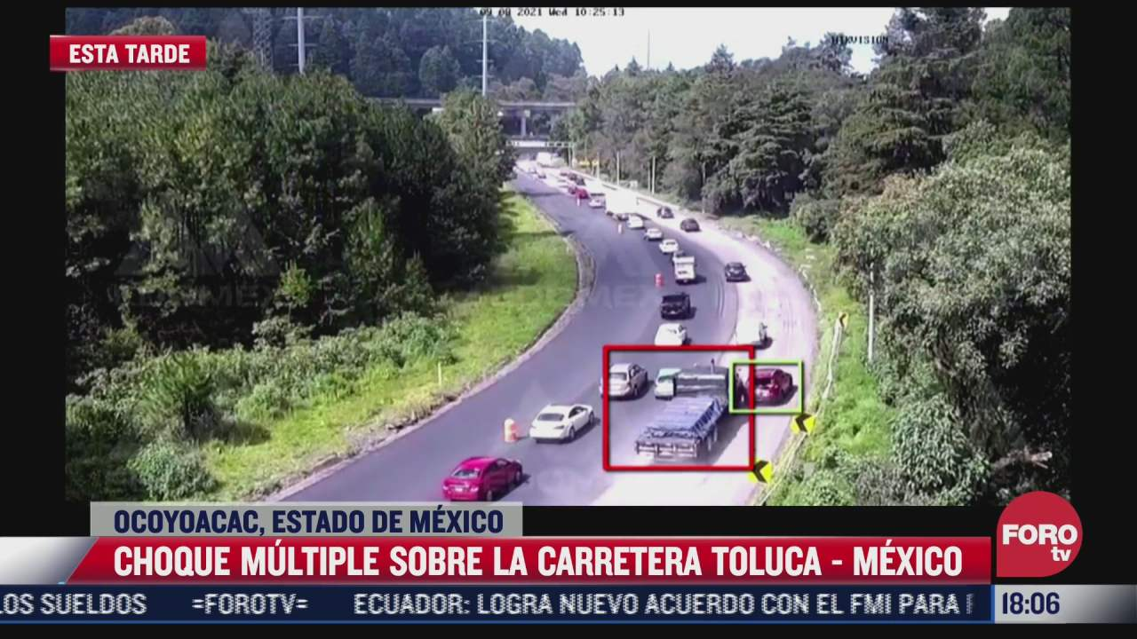 tractocamion provoca carambola sobre carretera toluca mexico