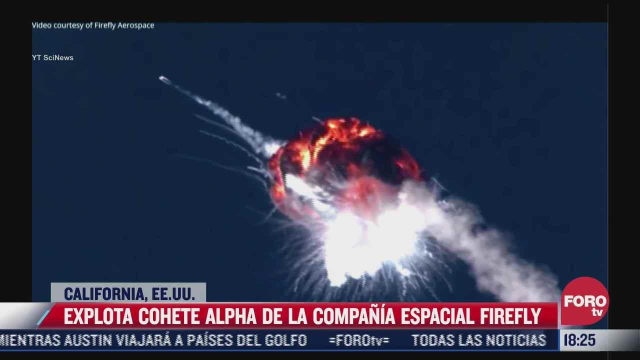 video captan impresionante explosion del cohete alpha de firefly