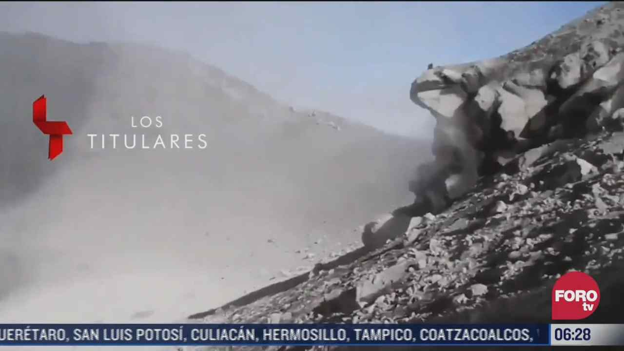 video dos hombres escalan hasta el crater del volcan popocatepetl
