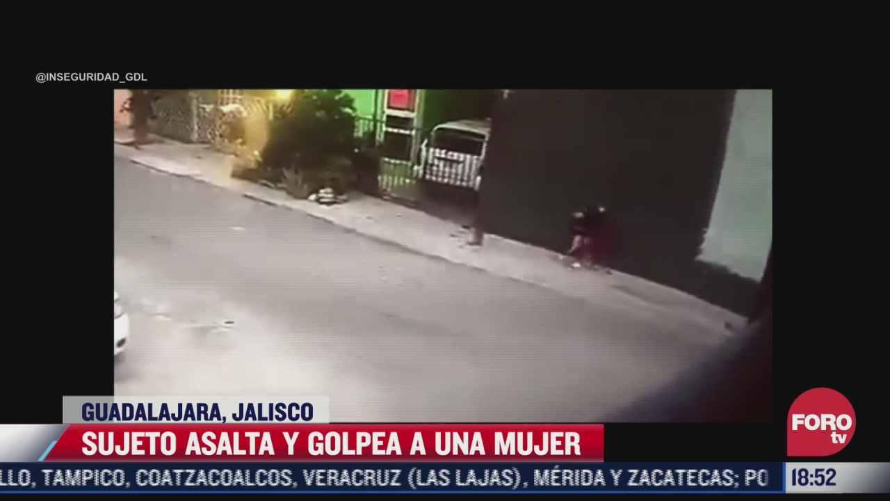 video ladron golpea a mujer durante asalto en jalisco
