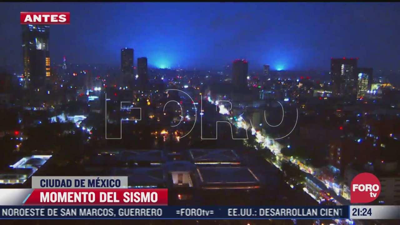 video luces en cielo de cdmx durante sismo magnitud