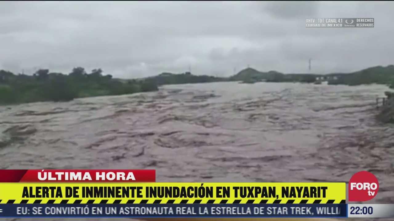 alertan a habitantes de tuxpan nayarit por desbordamiento del rio