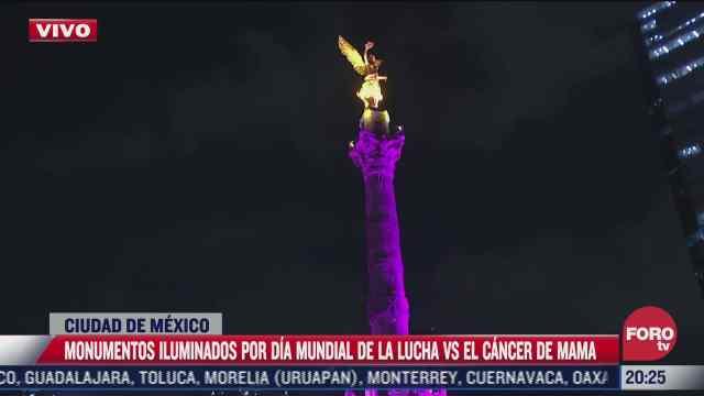 angel de la independencia se ilumina por dia mundial contra el cancer de mama