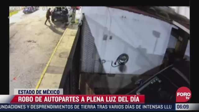 camaras de seguridad graban robo de robo de autopartes en naucalpan estado de mexico