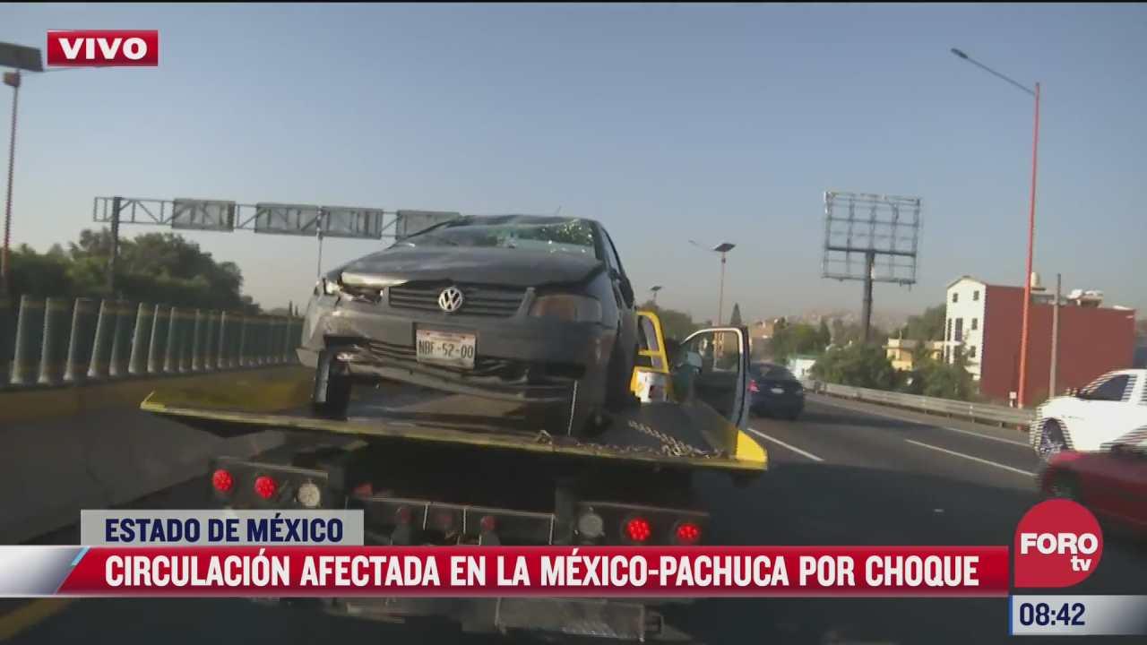 choque vehicular afecta la circulacion en la mexico pachuca