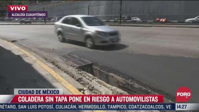 coladera sin tapa pone en riesgo a automovilistas del circuito bicentenario