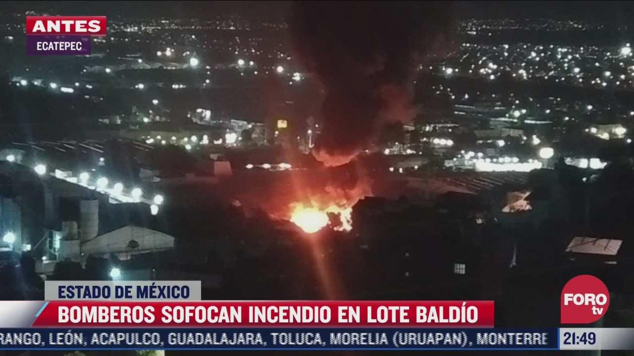 controlan incendio en lote baldio de ecatepec